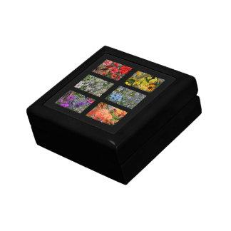 Jardín de flores negro del vitral caja de regalo