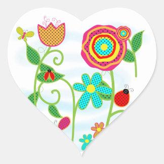 Jardín de flores pegatina corazón personalizadas