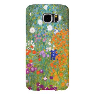 Jardín de flores por el vintage de Gustavo Klimt Fundas Samsung Galaxy S6