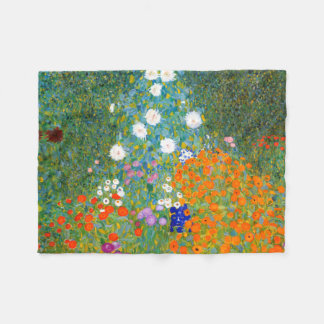 Jardín de flores por el vintage de Gustavo Klimt Manta De Forro Polar