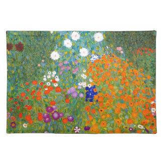 Jardín de flores por el vintage de Gustavo Klimt Mantel