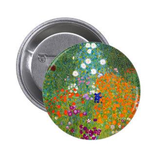 Jardín de flores por el vintage de Gustavo Klimt Pin