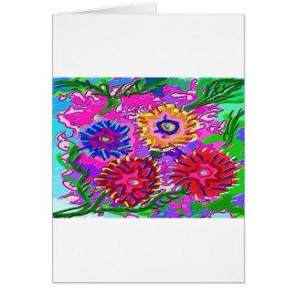 Jardín de flores púrpura rosado elegante tarjeta de felicitación