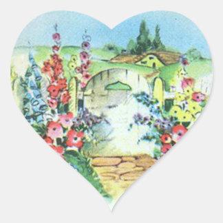 Jardín de flores retro colorido del país del pegatinas corazon personalizadas