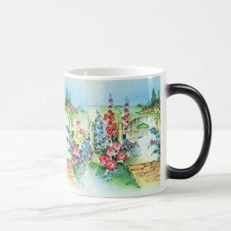 Jardín de flores retro colorido del país del taza mágica