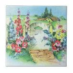 Jardín de flores retro colorido del país del vinta azulejo ceramica