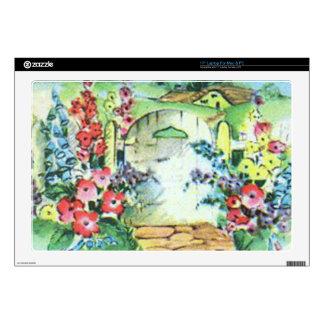 Jardín de flores retro colorido del país del vinta skins para 43,2cm portátil
