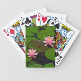 Jardín de flores rosado del lirio de agua del loto barajas de cartas