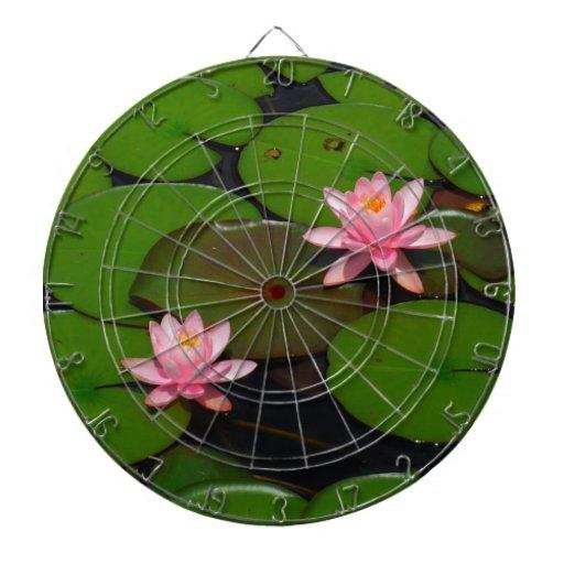 Jardín de flores rosado del lirio de agua del loto tabla dardos