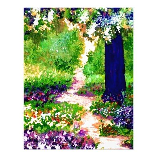 Jardín de flores soleado CricketDiane de la celebr Membrete A Diseño