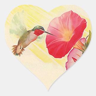 Jardín de flores Throated de rubíes del colibrí Pegatina En Forma De Corazón