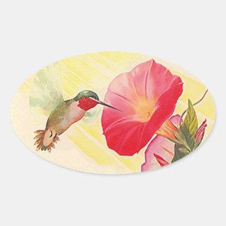 Jardín de flores Throated de rubíes del colibrí Pegatina Ovalada