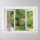 Jardín de flores - ventana abierta con la visión b poster