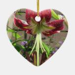 Jardín de flores verde marrón del lirio ornamento de navidad