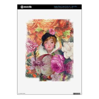 Jardín de flores vibrante de la mujer del vintage pegatinas skins para iPad 3