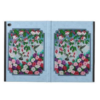 Jardín de flores y colibríes azules
