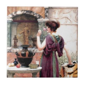 Jardín de Godward de la mujer de Pompeya Azulejo Cuadrado Pequeño