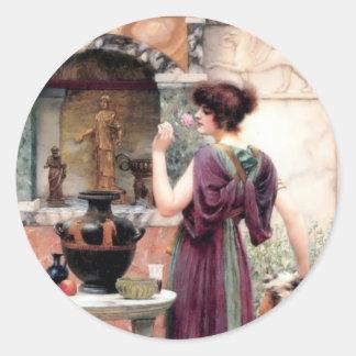 Jardín de Godward de la mujer de Pompeya Pegatina Redonda