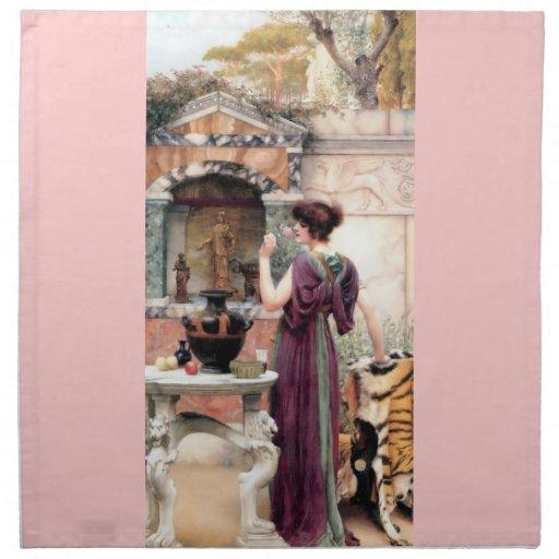 Jardín de Godward de la mujer de Pompeya Servilleta Imprimida