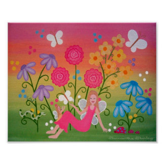 Jardín de hadas - arte de los niños de los chicas poster