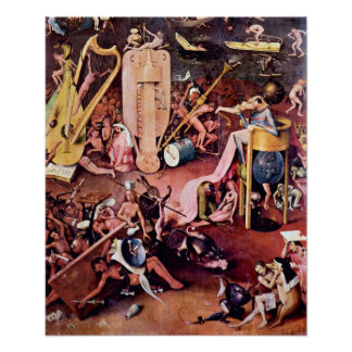 Jardín de Hieronymus Bosch- del infierno, detalle Póster