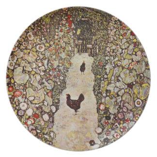 Jardín de Klimt con la placa de los gallos Plato Para Fiesta