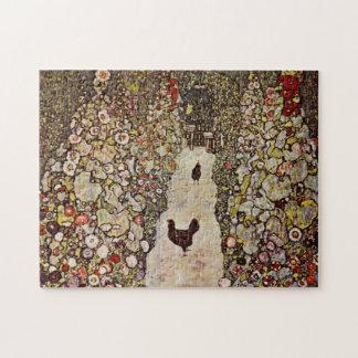 Jardín de Klimt con rompecabezas de los gallos