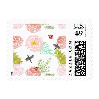 Jardín de la acuarela de los rosas de las timbre postal