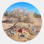 Jardín de la basura de la ciudad de la losa etiquetas redondas