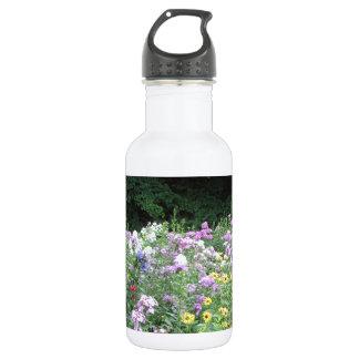 Jardín de la cabaña - flores y maderas botella de agua de acero inoxidable