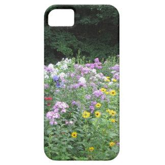 Jardín de la cabaña - flores y maderas iPhone 5 coberturas