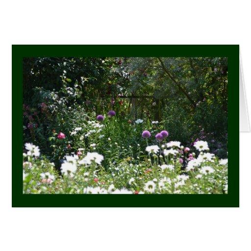 Jardín de la cabaña tarjeta de felicitación