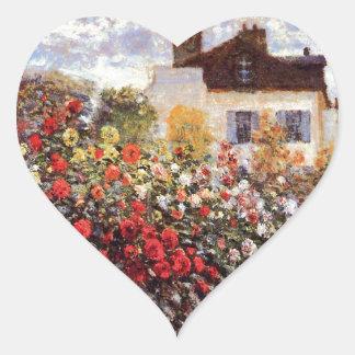 Jardín de la dalia en bella arte de Argenteuil Pegatina En Forma De Corazón
