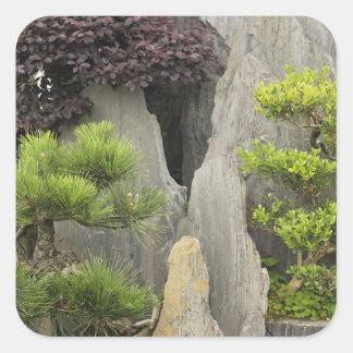 Jardín de la familia de Bao, Huangshan, China. 2 Calcomanía Cuadradas Personalizadas