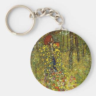 Jardín de la granja con crucifijo de Gustavo Klimt Llavero Redondo Tipo Pin