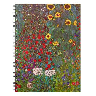 Jardín de la granja de Gustavo Klimt con el cuader Libro De Apuntes Con Espiral