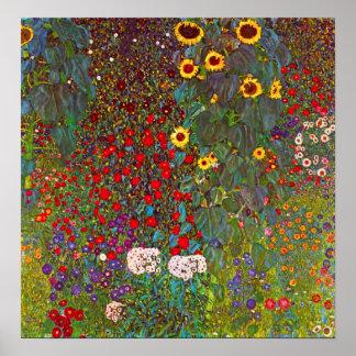 Jardín de la granja de Gustavo Klimt con el poster Póster