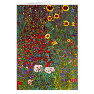 Jardín de la granja de Gustavo Klimt con la tarjet Felicitaciones