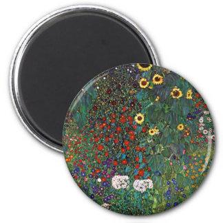 Jardín de la granja de Gustavo Klimt con los giras Imán Redondo 5 Cm