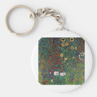 Jardín de la granja de Gustavo Klimt con los giras Llavero Redondo Tipo Pin