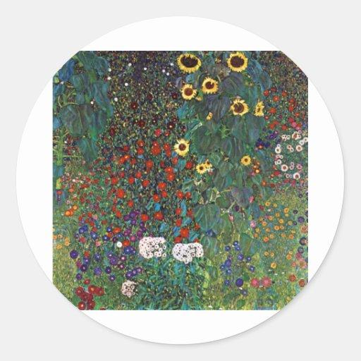 Jardín de la granja de Gustavo Klimt con los Pegatina Redonda