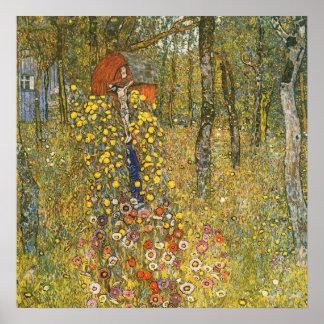 Jardín de la granja de Klimt con el poster del cru