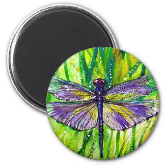 Jardín de la libélula imán redondo 5 cm