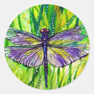Jardín de la libélula pegatina redonda