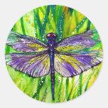 Jardín de la libélula pegatinas redondas