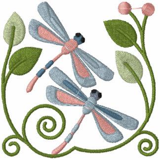 Jardín de la libélula sudadera bordada con serigrafia