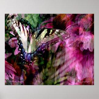 Jardín de la mariposa póster