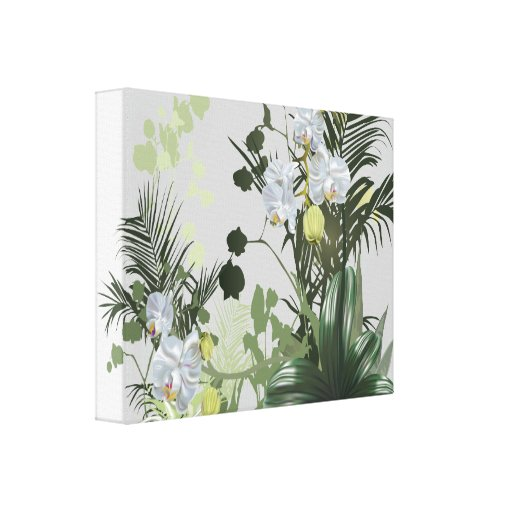 Jardín de la orquídea floral lienzo envuelto para galerías