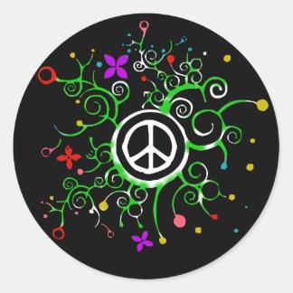 Jardín de la paz pegatina redonda