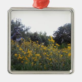 Jardín de la pradera adorno navideño cuadrado de metal
